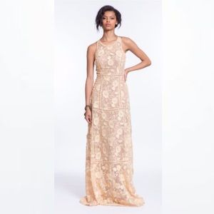 Plenty by Tracy Reese tan floral lace maxi dress